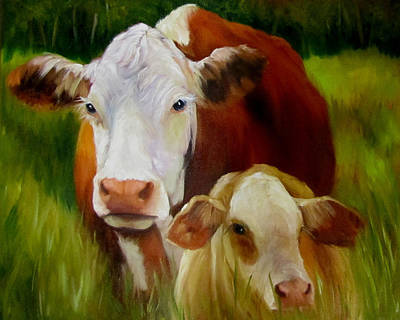 Barnyard Animal Painting - Mother Cow And Baby Calf by Cheri Wollenberg