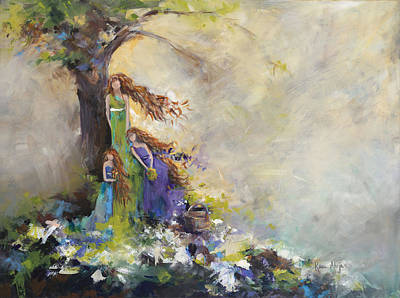Tree Roots Painting - Mother Daughter Picnic by Karen Ahuja