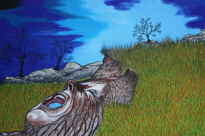 Storm Drawing - Mother Earth Cryin Out by Dennis Nadeau