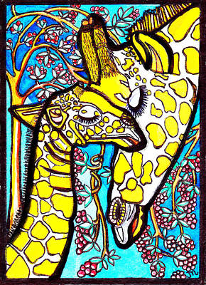 Mother Giraffe With Baby Print by Judy Moon