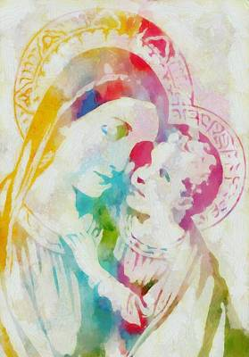 Mother Mary Watercolor Print by Dan Sproul