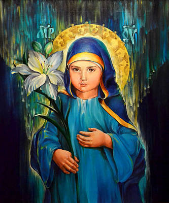 Russian Icon Painting - Mother Of God Three-years-old by Natalia Lvova