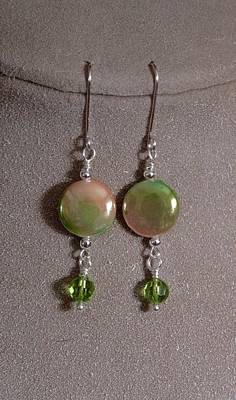 Lampwork Jewelry - Mother Of Pearl And Peridot by Jan Brieger-Scranton