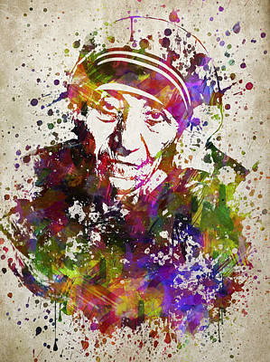 Mother Teresa In Color Print by Aged Pixel