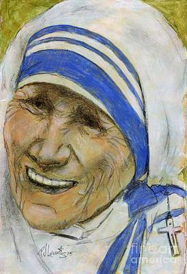 Spiritual Portrait Of Woman Painting - Mother Teresa by P J Lewis