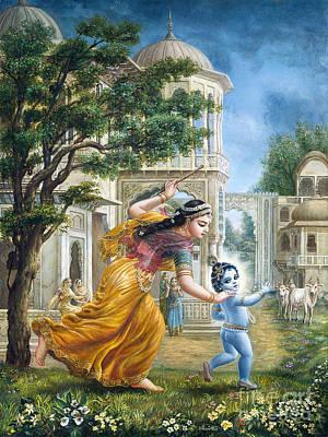 Mother Yashoda Tries To Catch Krishna Print by Dominique Amendola