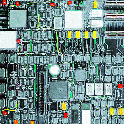 Motherboard Abstract 20130716 Square Print by Wingsdomain Art and Photography