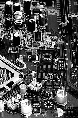 Motherboard Black And White Print by Vinnie Oakes