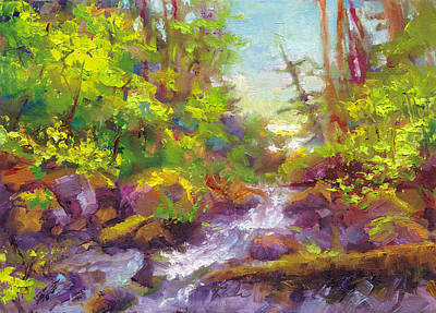 Vivid Fall Colors Painting - Mother's Day Oasis - Woodland River by Talya Johnson