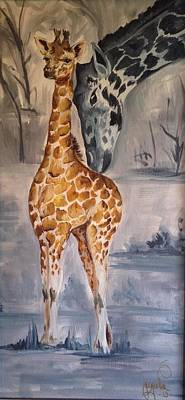 Mother And Baby Giraffe Painting - Mother's Love by Jacqueline Schaetzle