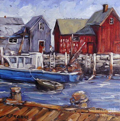 Quebec Painting - Motif I - Wharf Scene  by Richard T Pranke