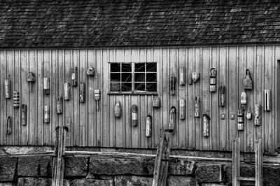 Fish Shacks Photograph - Motif No 1 Fish Shack In Black And White by Joann Vitali