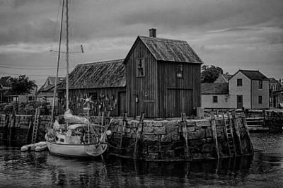 Fishing Shack Photograph - Motif Number 1 - Rockport Harbor Bw by Stephen Stookey