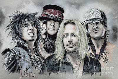Lee Drawing - Motley Crue by Melanie D