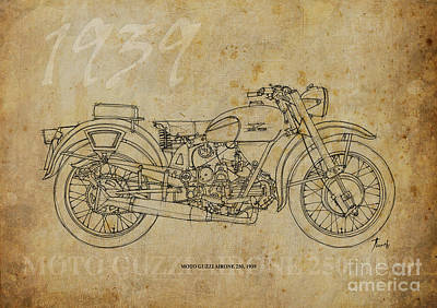 Moto Guzzi Airone 250 1939 Print by Pablo Franchi