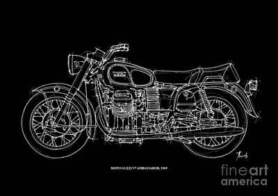 Motorcycle Drawing - Moto Guzzi Ambassador 1969 by Pablo Franchi