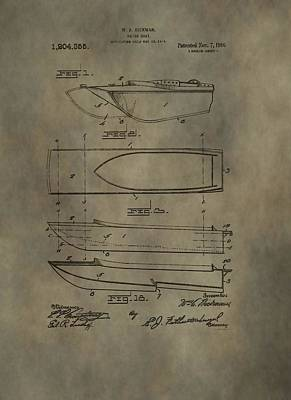 Boat Mixed Media - Motor Boat Patent by Dan Sproul