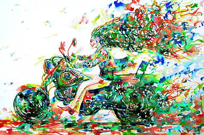 Cycle Painting - Motor Demon Running Fast by Fabrizio Cassetta