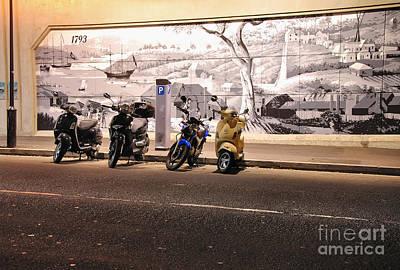 Motorbikes Waiting Print by Kaye Menner