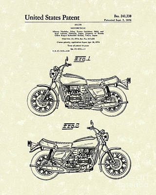 Bicycle Drawing - Motorcycle 1976 Patent Art by Prior Art Design