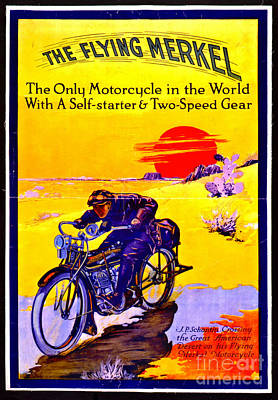 Motorcycle Ad 1913 Print by Padre Art