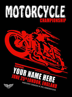 Personalized Photograph - Motorcycle Customized Poster 2 by Mark Rogan