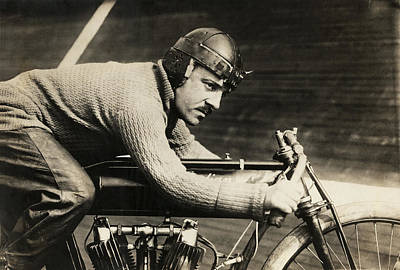 Motorcyclist Andre Grapperon Print by Underwood Archives