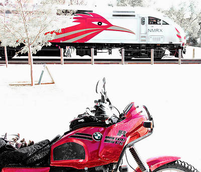 Motorcyle And Train Print by Britt Runyon