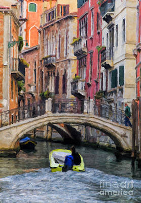 Motor Boats Painting - Motoring Down A Venice Canal by Sheldon Kralstein