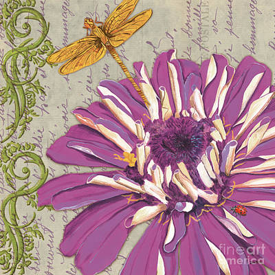 Dragonfly Painting - Moulin Floral 2 by Debbie DeWitt