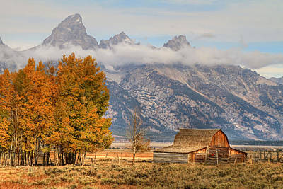 Moulton Barn - Grand Tetons Print by Donna Kennedy