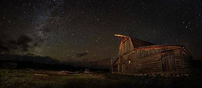 Night Workshop Photograph - Moulton Barn Milky Way Panorama by Mike Berenson
