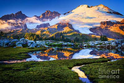 Mount Baker Reflection Print by Inge Johnsson