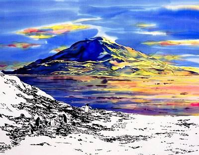 Penquins Tapestry - Textile - Mount Erebus Antarctica by Carolyn Doe