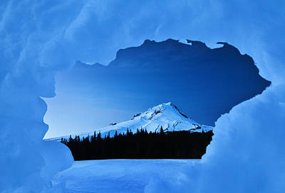 Winter Scenes Photograph - Mount Hood Blues by Darren  White