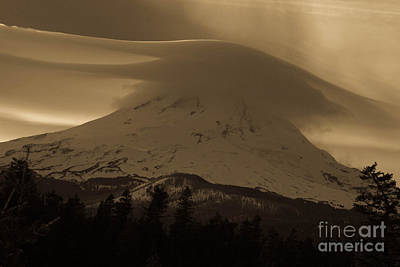 Mount Hood In The Clouds Print by Cari Gesch