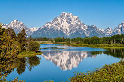 Peaks Photograph - Mount Moran On Snake River Landscape by Brian Harig