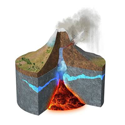 Mount Ontake Eruption Print by Claus Lunau