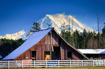 Mount Rainier And Barn Print by Inge Johnsson
