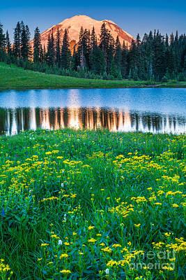 Mt Rainier National Park Photograph - Mount Rainier And Tipsoo Lake by Inge Johnsson