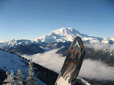 With Red. Photograph - Mount Rainier Has Skis by Kym Backland