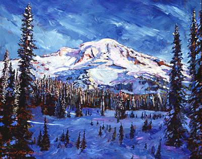 Mount Rainier Impressions Print by David Lloyd Glover