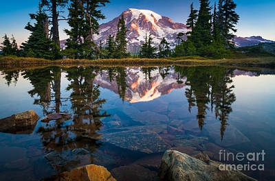 Strong America Photograph - Mount Rainier Tarn by Inge Johnsson