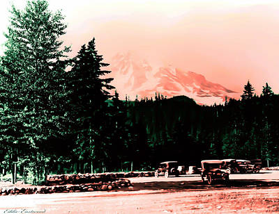 Mount Rainier With Vintage Cars Early 1900 Era... Print by Eddie Eastwood
