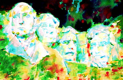 Statue Portrait Painting - Mount Rushmore  by Fabrizio Cassetta