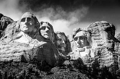Carving In Stone Photograph - Mount Rushmore National Memorial In Black And White by Debra Martz