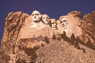 Thomas Jefferson Drawing - Mount Rushmore Red by Art America Online Gallery