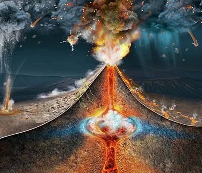 Mount Tambora Eruption Print by Claus Lunau
