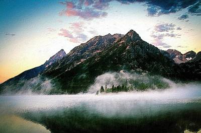 Forrest Painting - Mountain By The Lake by Florian Rodarte
