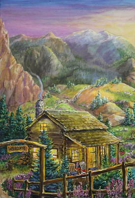 Seem Painting - Mountain Cabin by Jan Mecklenburg